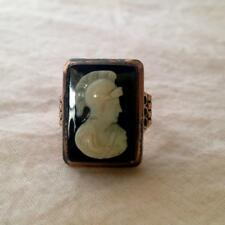 Antique Victorian Cut Stone 10k Rose Gold Cameo Ring Roman Soldier Size 8.25