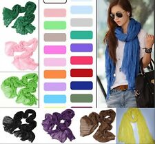 19 Colors Hot Womens Girls Soft Crinkle Long Pure Candy Scarf Wraps Shawl Stole