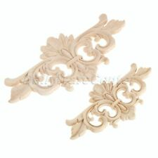 Unpainted Decorative Wood Carved Corner Decal Onlay Applique Home Furniture Door
