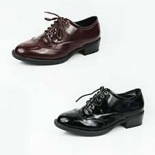 WOMENS LADIES CASUAL SCHOOL WORK LOW BLOCK HEEL LACE UP BROGUES SHOES SIZE 3-8