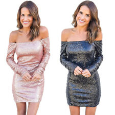 Sexy Women Bodycon Off Shoulder Evening Party Cocktail Sequined Short Mini Dress