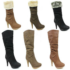 WOMENS LADIES CASUAL PLATFORM MID CALF FOLD OVER FUR CUFF BOOTS SHOES SIZE 3-8