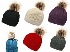 LADIES-TEENS-KNITTED-WINTER-BEANIE-HAT-WITH-THERMAL-FLEECE-LINING-&-FUR-POM-POM