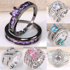 Woman Man 925 Silver Amethyst White Topaz  Wedding Engagement Ring Size 6-10
