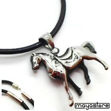 Pendant Necklace Horse Pony Leather Chain Animal NEW