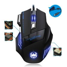 5500 DPI Gaming Mouse 7 Buttons Color LED Light USB Optical Wired for Pro Gamer