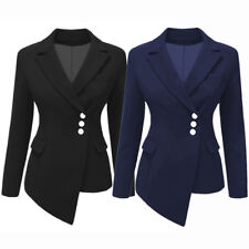 Women's Business Suit Blazer Lapel OL Long Sleeve Asymmetric Jacket Coat Outwear