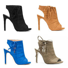 WOMENS LADIES HIGH HEEL PEEP TOE CUT OUT ANKLE BOOTS SANDALS SHOES SIZE 2-7