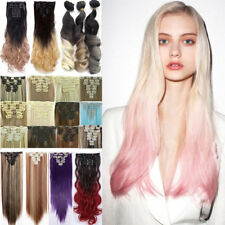 Long as human Clip in on Real Thick Hair Extensions Extension Full Head Ombre US