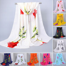 Womens Lady Large Floral Chiffon Scarf Shawl Wrap Summer Beach Evening Cover-up