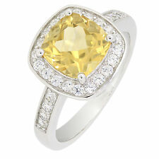 Sterling Silver Cushion Cut Golden Yellow Genuine Citrine Halo Ring 2 CT R216CT