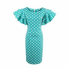 Women White Color Dots Print Short Sleeve O Round Neck Bodycon Knee Length Dress