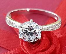 14k Solid White or Yellow Gold man made diamond Engagement Ring