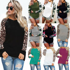 6-22 Plus Size UK Womens Stretch Casual Leopard Print Pullover Shirt Blouse Tops