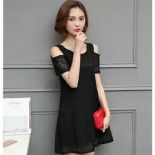 Women Short Sleeve Round Neck Lace Decorated Loose A-Line Dress