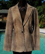 Cache Leather Suede Jacket Top New 4/6 Sz S Lined Reptile Brown Beige $348 NWT