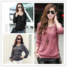 Women's Scoop Neck Long Sleeve Buttons Decor Loose Solid T-shirt Top Blouse