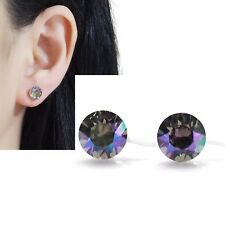 Light Blue Swarovski Crystal Invisible Clip on Stud Earrings Rhinestone Clip-ons