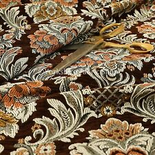 Rich Detail Damask Exotic Brown Floral Pattern Upholstery Furnishing Fabric