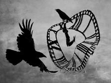 Clock Face Crow Flying Bird Steampunk Art Gothic Decor Matted Picture USA A530