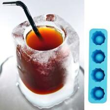 Ice Jello Cube Mold Party Glass 4 Shot Maker Shots Tray Cup Silicone Freeze Mold