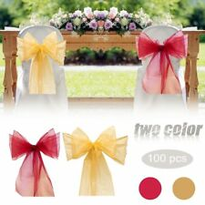 100PCS Organza Chair Cover Sash Bow Extra Wide Wedding Party  Banquet Decor US