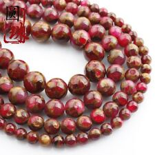 1Strands Gold Colored Stone Ball Loose Beads (6.8.10.12mm) 15.5inch B7292