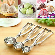 Ice Cream Spoon Stainless Steel Spring Handle Masher Cookie Scoop OZB