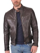 Jacket Leather Motorcycle Mens Brown Real Lambskin New Biker Coat Vintage MJ737