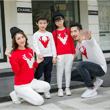Couple T-Shirt Christmas Deer Long Sleeve Matching Shirt Family Clothes Tee Tops