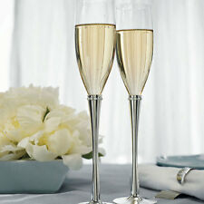 Silver Plated Crystal Ring Wedding Toasting Flutes Cake Serving Set Q17362