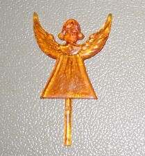 "Vintage Large GOLD Amber Ceramic Christmas Tree Star ANGEL Topper 4"" tall"