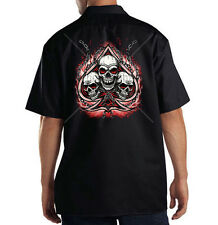 Dickies Mechanic Work Shirt Skulls Chains Flames Spade Biker Motorcycle