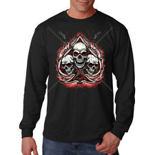 Skulls Chains Spade Flames Motorcycle Biker Chopper Long Sleeve T-Shirt