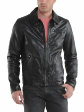 Leather Jacket Mens Motorcycle Brown Soft Lambskin Bomber Jacket Outwear SD628
