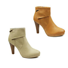 WOMENS LADIES PLATFORM HIGH BLOCK HEEL ZIP UP ANKLE BOOTS BOOTIES SHOES SIZE 2-7