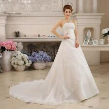 Custom Wedding Dress A-Line Bridal Gown With  Train Sleeveless Strapless