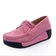 Flats Women Shoes Summer Moccasin Platform Shoes Cow Suede Casual Slip On hollow