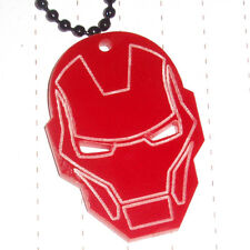 80s Super Hero Iron Man Mask Logo Charm Necklace Kitsch Kawaii Retro