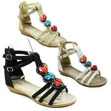 WOMENS LADIES HEART BEADED GLADIATOR STRAPPY LOW WEDGE HEEL ANKLE SANDALS 3-8