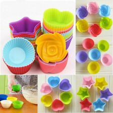 1/12Pcs Soft Silicone Cake Muffin Chocolate Cupcake Bakeware Baking Cup Mold