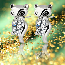 Classic Plated Silver Gold Fox Stud Earrings Crystal Earring Alloy Animal