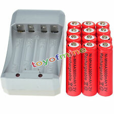 12x AA 3000mAh 1.2V Ni-MH RED Color Rechargeable Battery Cell +Charger