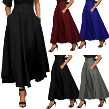 Women's High Waist Long Maxi Skirts Gypsy Stretch Full Length Pleated Dresses