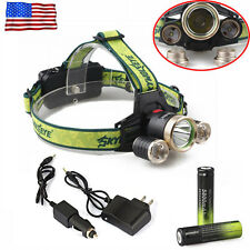 36000LM Headlamp 3x T6 LED Headlight Torch Lamp Flashlight+Charger+Battery@
