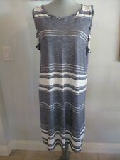NWT MAX EDITION L & XL STRIPED GREY/WHITE SLEEVELESS DRESS MSRP $98.00