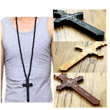 Large wood jesus cross wooden bead carved rosary pendant long collar  necklace