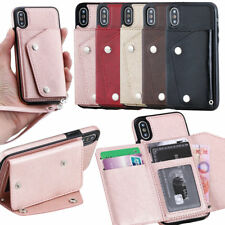 Shockproof Magnetic Leather Card Slot Stand Case Cover Wrist Strap for iPhone X