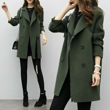 Women Fashion double breasted long trench coat jacket wool overcoat Parka Lot ST