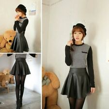 Stylish Womens Ladies High Waist PU Leather Flared Pleated Short Skirt 4 Colors